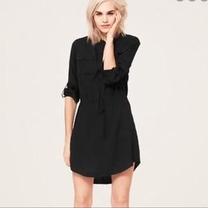 Lou & Grey Black Drawstring Button Up Shirt Dress